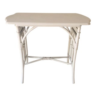 Hollywood Recency White Rattan Table / Desk