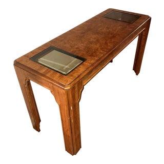 Oak Wood & Glass Console Table