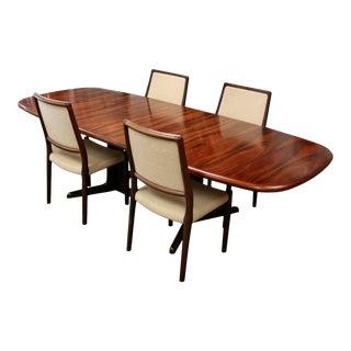 1960s Mid Century Modern Danish Kibaek Mobelfabrik Rosewood Dining Table & Chairs - Set of 5 For Sale