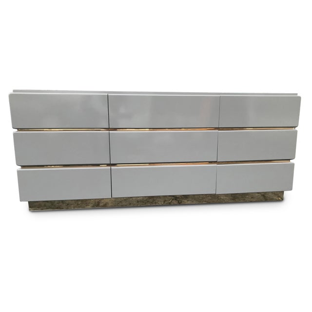 Brass Vintage Lane Lacquered and Brass Credenza For Sale - Image 7 of 8