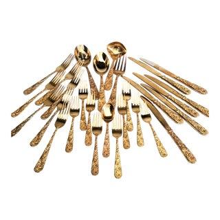 Godinger Golden Olde Bouquet Gold Electroplate Flatware Set - 28 Piece Set For Sale
