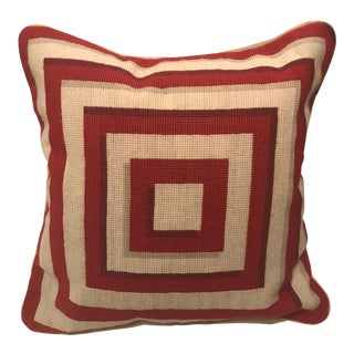 Jonathan Adler Style Vintage Geometric Red Cream Needlepoint Pillow