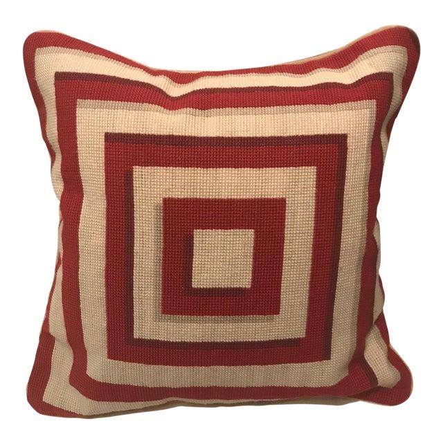 Jonathan Adler Style Vintage Geometric Red Cream Needlepoint Pillow - Image 1 of 5
