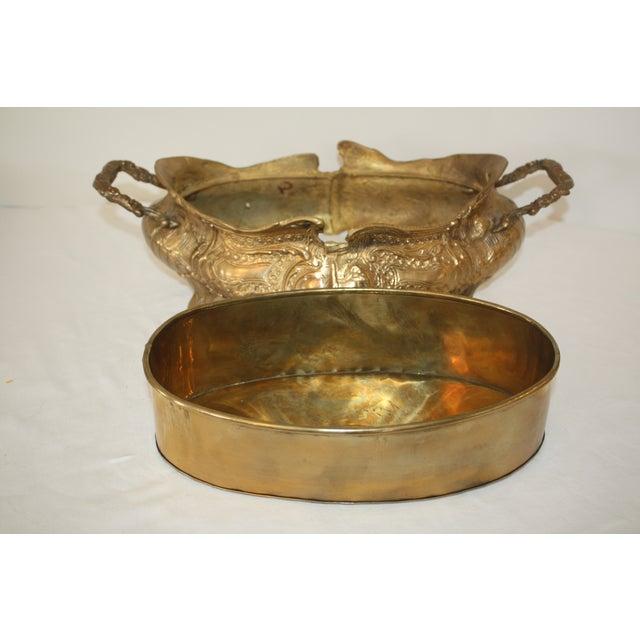 Vintage Art Nouveau Brass Jardiniere - Image 4 of 6