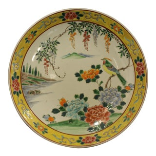 Antique Yellow Chinese Bird Charger For Sale