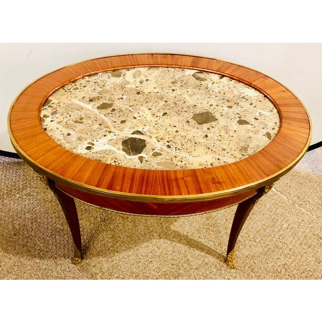 1920s 1920s Louis XVI Style Coffee or Low Table Walnut and Marble For Sale - Image 5 of 13