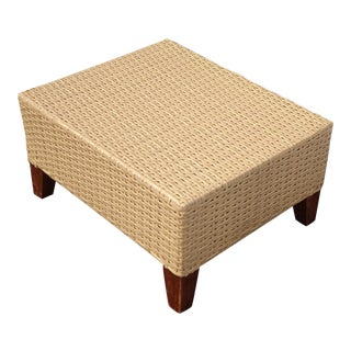 Vintage French Country Plastic Weave Ottoman Footstool For Sale