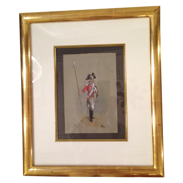 1890s Military Man Gouache Painting - Image 1 of 6