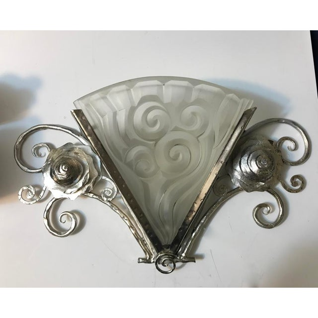 Pair of French Art Deco Wall Sconces by Degue - Image 3 of 9