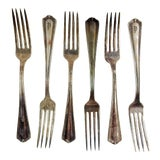 Image of 1930's Plaza Hotel Silver Plate Forks - Set of 6 For Sale
