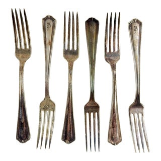 1930's Plaza Hotel Silver Plate Forks - Set of 6 For Sale