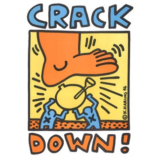 Vintage 1986 Keith Haring Crack Down Poster For Sale