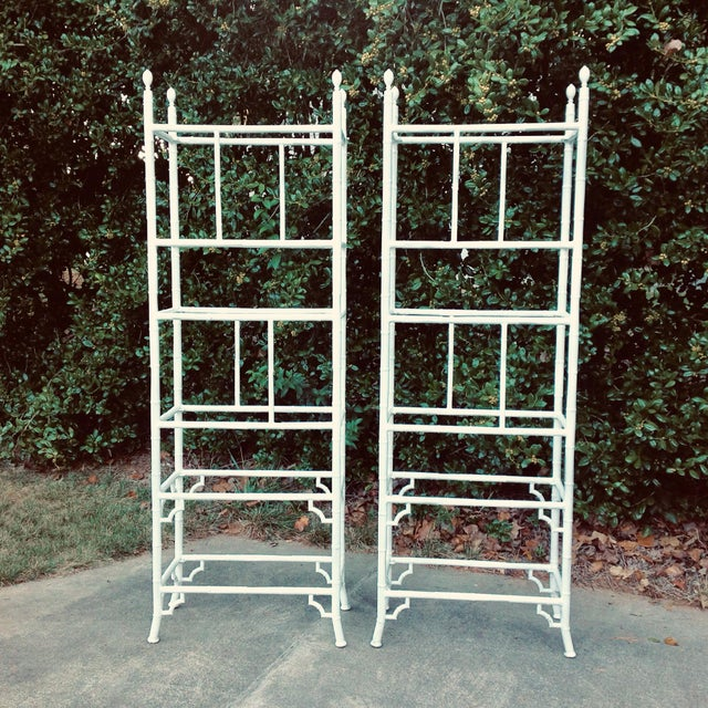 1970s Chippendale Faux Bamboo Meadowcraft Etageres - a Pair For Sale In Charlotte - Image 6 of 6