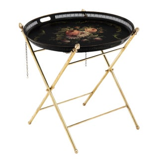 French Napoleon III Style Painted Tray Table For Sale