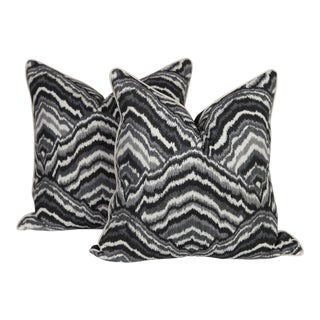 Black and Gray Abstract Agate Pillows, a Pair For Sale