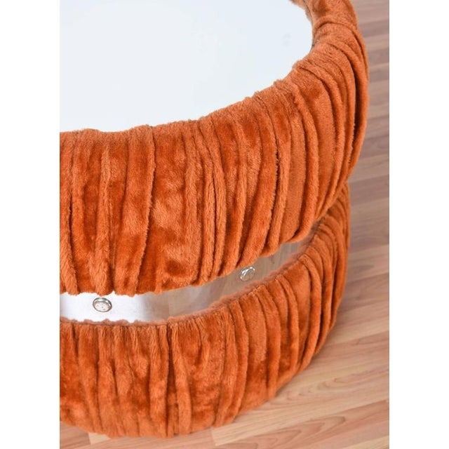 Vintage Fuzzy Orange Coffee Table & End Tables - Set of 3 For Sale In Tampa - Image 6 of 6