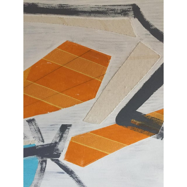 Amazing original modern art. Mixed media on canvas with wrap around canvas finish. Orange, turquoise, gray and white....