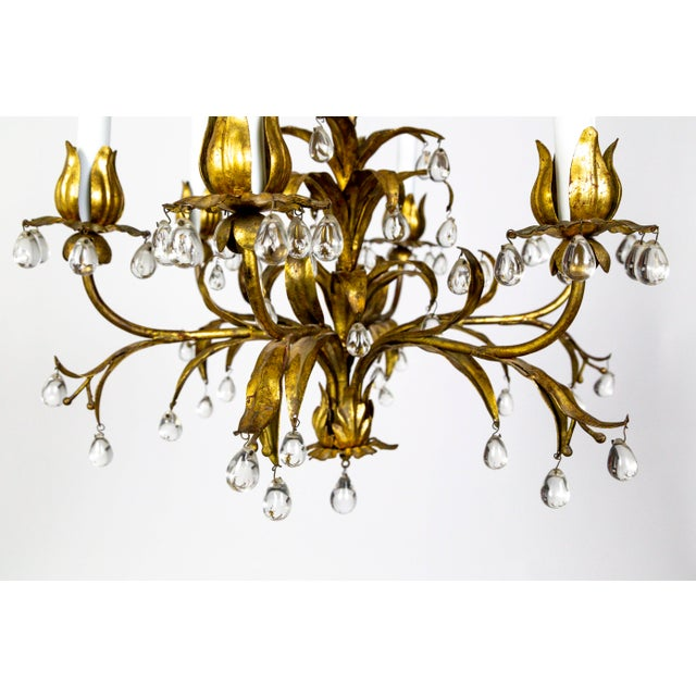 Hollywood Regency Palm Beach Style Gilt Leaves and Grape Crystal Chandelier For Sale - Image 3 of 13
