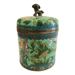Mid 19th Century Green Cloisonné Covered Jar For Sale