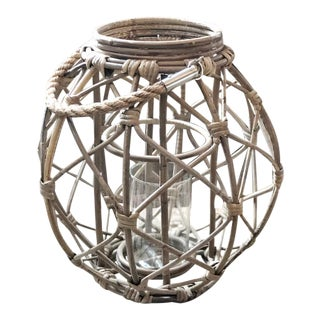 Rattan Lantern With Glass Insert and Jute Handle For Sale