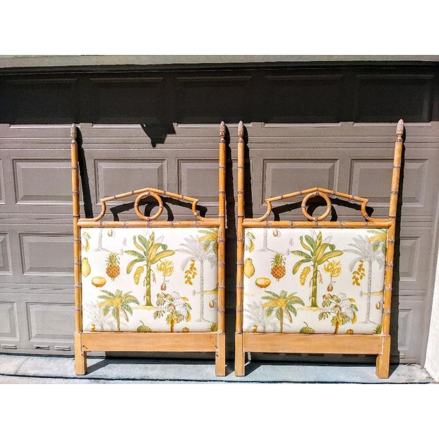 A Pair Custom Made Twin Wood Faux Bamboo Tropical Palm Beach Regency Lexinghton Headboards For Sale In West Palm - Image 6 of 6