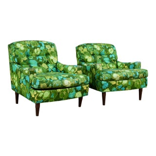 Selig Mid-Century Green Floral Armchairs - A Pair