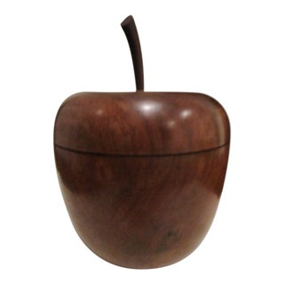Antique 1800s New England Apple Form Hand Turned Wooden Tea Caddy Box