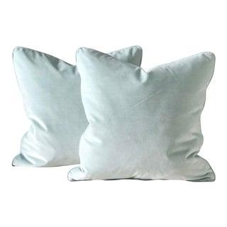 "24"" Contemporary Robins Egg Blue Velvet Pillows - a Pair For Sale"