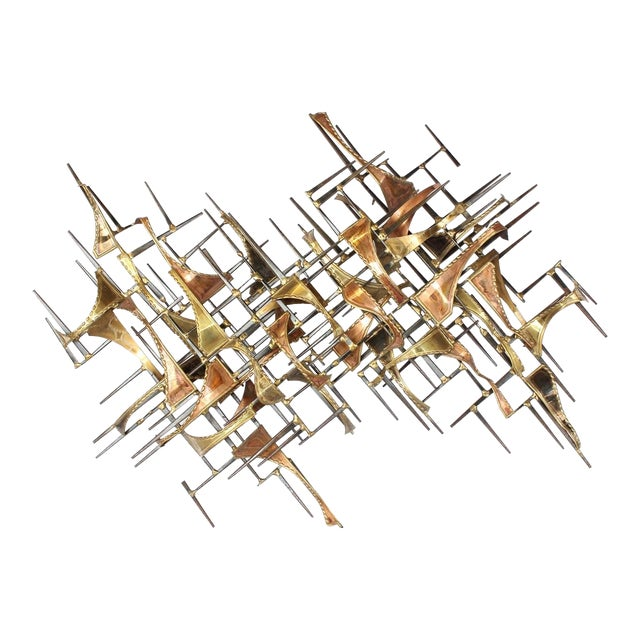 Mid-Century Vintage Brutalist Brass Wall Sculpture For Sale