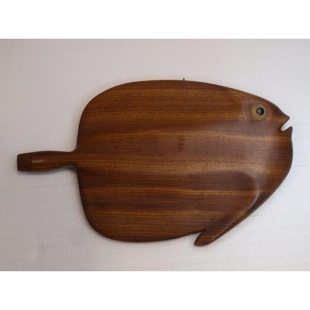 Modernist Folk Art Hand Carved Teak Wood Fish - Image 5 of 6