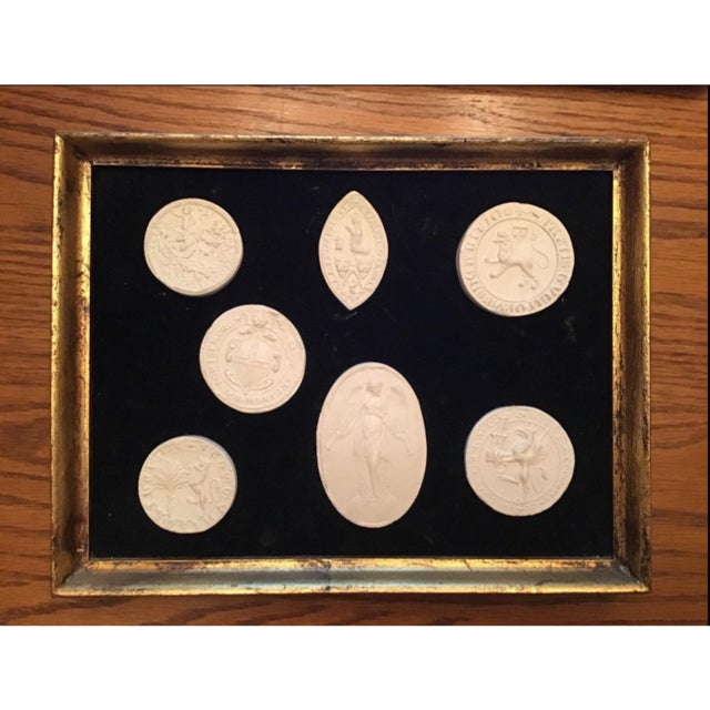 Gold Italian Grand Tour Intaglios in Frame. 7 Intaglios For Sale - Image 7 of 11