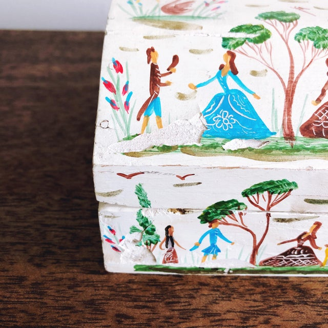 Teal Vintage Mexican Folk Art Hand Painted Wood Box For Sale - Image 8 of 9
