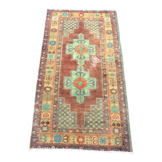 Vintage Traditional Turkish Distressed Brown and Green Rug For Sale