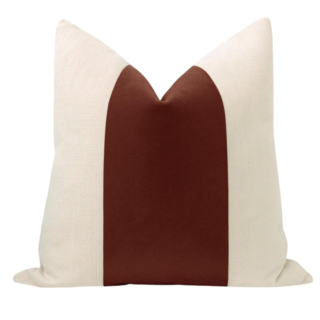 "Pair of beautiful 22"" natural linen pillows with a rouge mohair velvet center and solid natural linen reverse...."