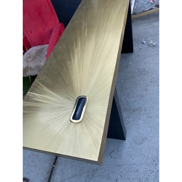 Metal 1960s Modern Soleil Brass Console Table For Sale - Image 7 of 9