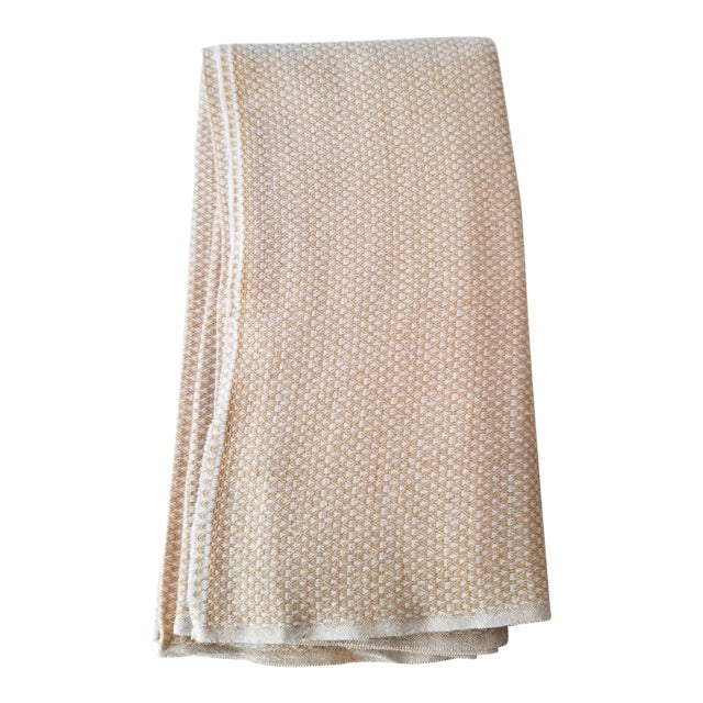 Last Ca. Yellow-Beige Cashmere Blanket For Sale