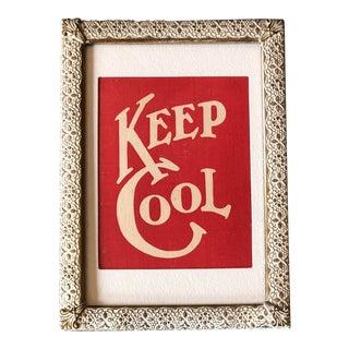 """Vintage 1908 Postcard """" Keep Cool"""" Framed in 1940's Brass Photo Frame For Sale"""