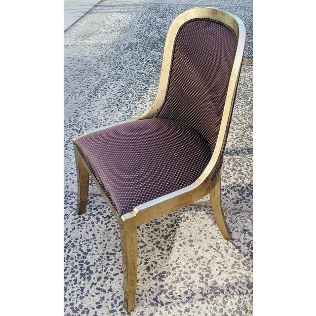 """Mid-Century Modern Vintage 20th Century French """"Donghia"""" Style Gilt Chairs - Set of 4 For Sale - Image 3 of 10"""