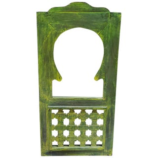 Moroccan Lime Green Wash Repurposed Wooden Frame Mirror For Sale