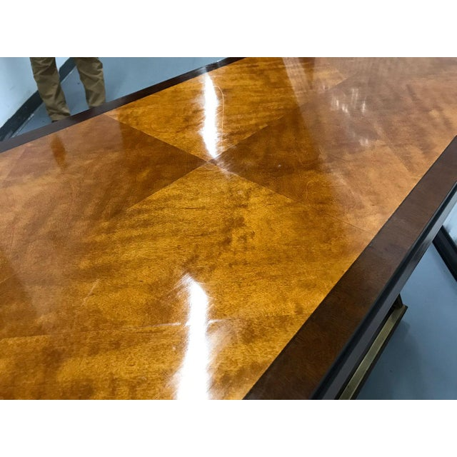 Vintage Hickory-White Burl and Brass Console For Sale - Image 9 of 12