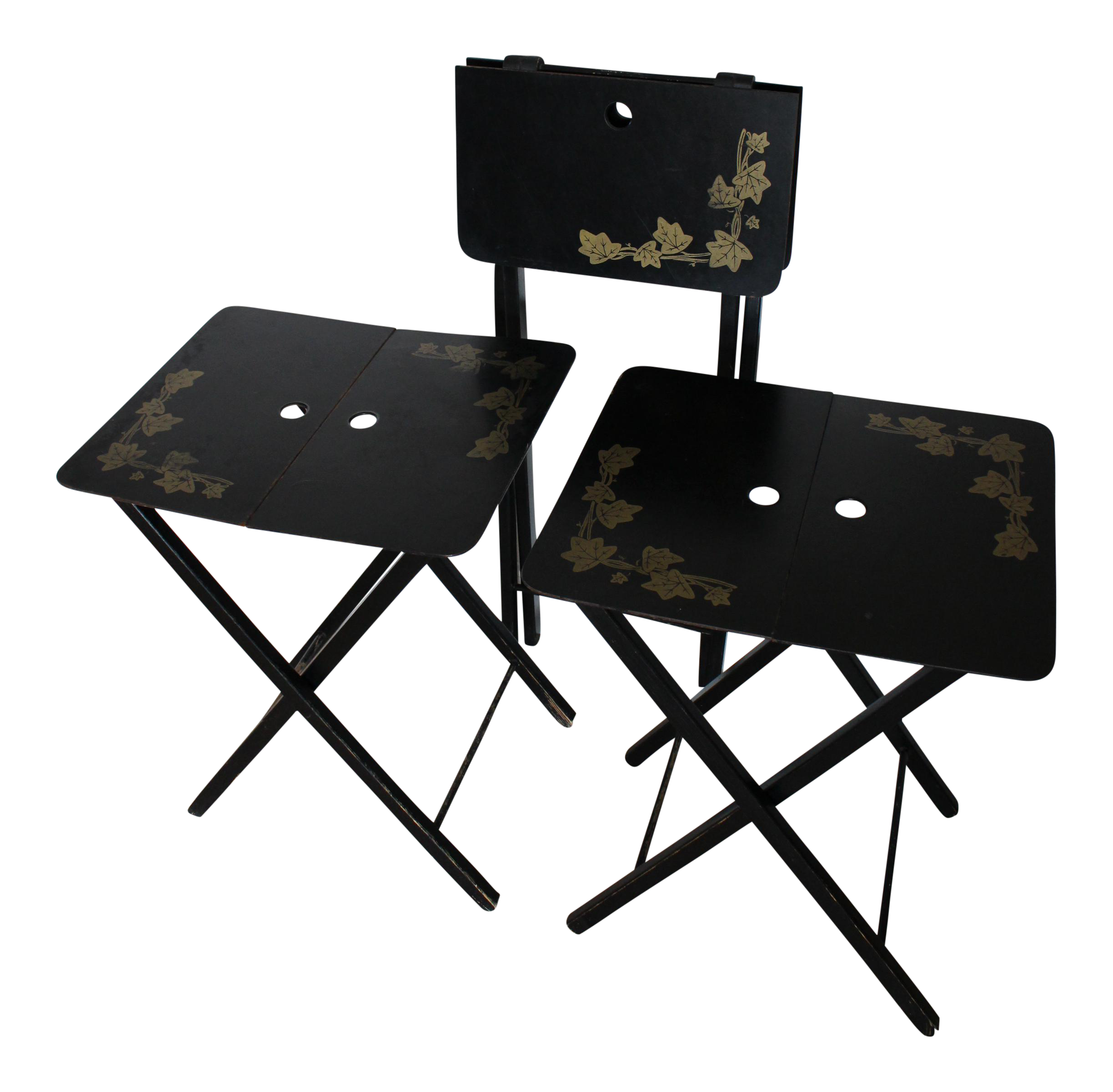Exceptionnel Vintage Woodcract Inc. Black Lacquered Folding Tray Tables   Set Of 3    Image 1