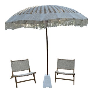 Macrame Umbrella & Chairs - Set of 3** For Sale