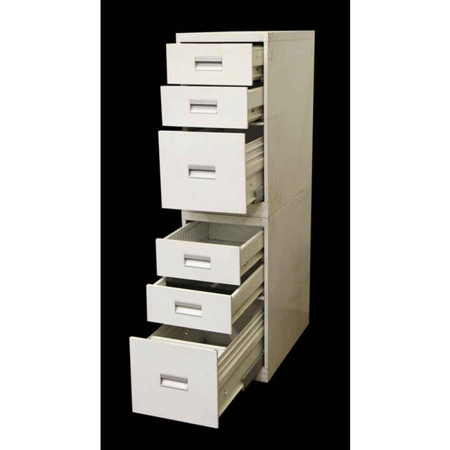 Stackable White Metal Filing Cabinet For Sale - Image 6 of 9