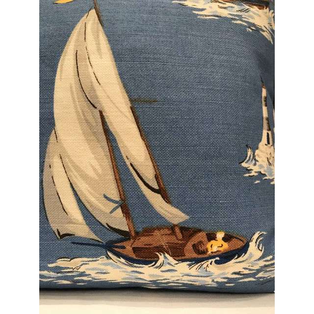 Nautical Nautical Scalamandre Breezy Point Blue Linen Print Pillow #1 Beach House Lake House For Sale - Image 3 of 6