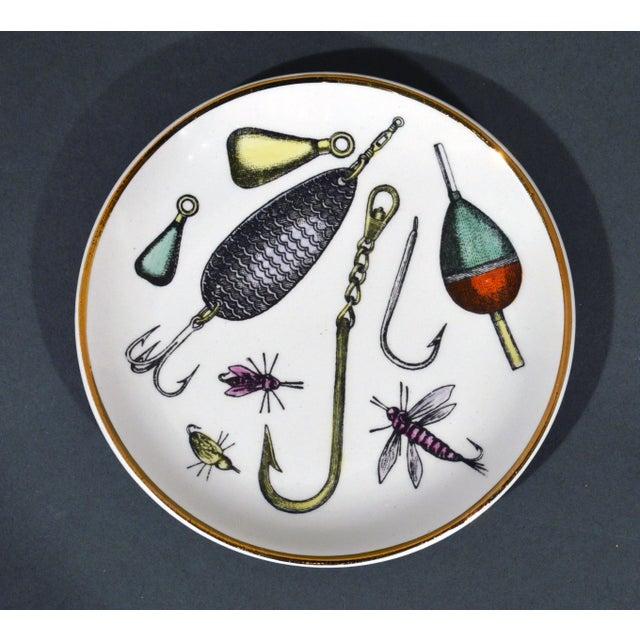 Mid-Century Modern Piero Fornasetti La Pesca Fishing Lures Coaster Set With Original Box For Sale - Image 3 of 13