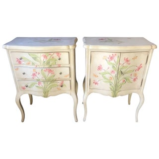Pair of Romantic Hand-Painted Nightstands by Patina For Sale