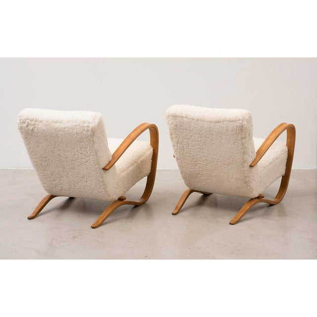 1930s Pair of Lounge Chairs Model H269 by Jindrich Halabala, Czechoslovakia, 1930s For Sale - Image 5 of 11