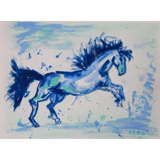 Chinoiserie Painting, Horse in Blue by Cleo For Sale