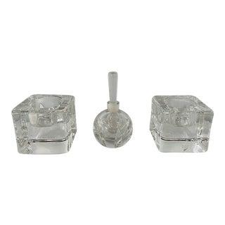 Orrefors Sweden Crystal Candle Holders and Perfume Bottles - Set of 3 For Sale