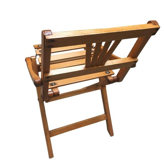 Mid-Century Modern Child-Size Folding Slat Wood Chair, Set of Two For Sale - Image 3 of 7